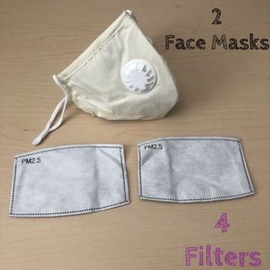 SALE🍭2 Cream Washable Face Cover Masks 4 Filters